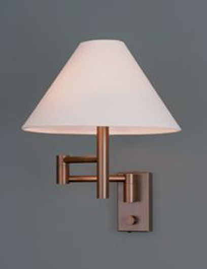 Picture of CLARUS BRONZE MATTE MINI SWING ARM WALL LAMP WITH LINEN SHADE
